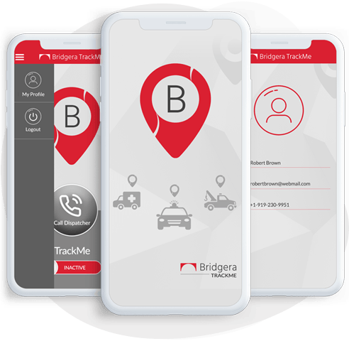 Bridgera TrackMe app screen